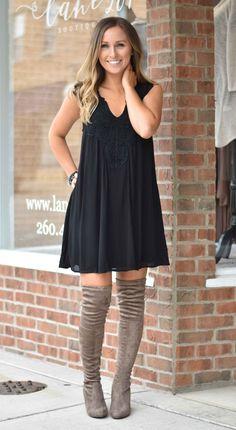 Black Crochet Shift Dress | Lane 201 Boutique