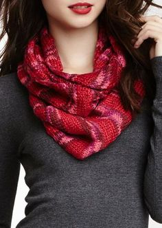 Space Dye Stripe Knit Infinity Scarf