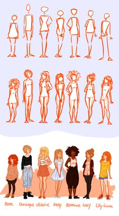 I tried to practice using some different body shapes and heights, because I felt like every girl I draw looked the same.. I'm quite satisfied with how they look right now but that might change, haha