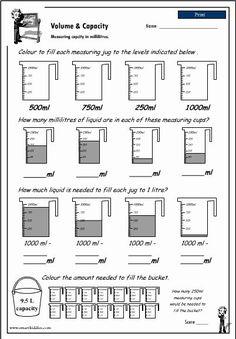 Measuring capacity using different units, Mathematics skills online, interactive activity lessons Capacity Worksheets, Volume Worksheets, Measurement Worksheets, 3rd Grade Math Worksheets, 4th Grade Math, Printable Worksheets, Math Classroom, Math Math, Math Resources