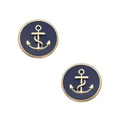 Blu Bijoux Gold and Blue Enamel Anchor Earrings ($16) ❤ liked on Polyvore featuring jewelry, earrings, accessories, gold anchor earrings, gold anchor jewelry, yellow gold jewelry, anchor earrings and gold earrings