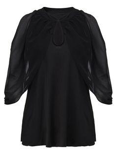 Sale 23% (13.68$) - Ruffles Women Sexy Black Hollow Out Chiffon Layered T-Shirt