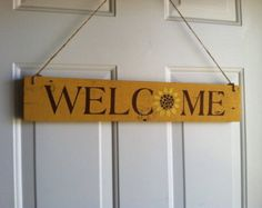 Welcome-hand painted wood sign, rustic, shabby chic, cottage decor