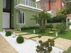 Exterior garden. Shrubs, grass and tree.