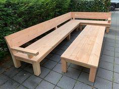 Douglas loungebank - Lounge bank in hoek opstelling! Modern Wood Furniture, Outdoor Furniture Plans, Diy Garden Furniture, Pallet Furniture, Outdoor Sofa, Rustic Outdoor, Outdoor Decor, Diy Sofa, Backyard Seating