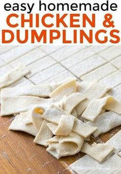 chicken and dumplings recipe! It's easy to make and so delish! Homemade dumplings are simmered in a flavorful chicken broth. Homemade Chicken And Dumplings, Dumplings For Soup, Homemade Biscuits, Dumpling Recipe, Chicken Pastry Recipe Homemade, Old Fashioned Dumplings Recipe, Home Made Dumplings Recipe, Drop Dumplings, Soup Recipes