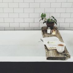 Add hygge details to your home like this rustic bath caddy Decoration Inspiration, Bathroom Inspiration, Interior Inspiration, Bathroom Ideas, Bathroom Styling, Bathroom Trends, Decor Ideas, Bathtub Tray, Bath Trays