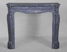 Antique Louis XV style fireplace, Pompadour model, in Blue Turquin marble #pompadour #fireplace #19thcentury #frenchantiques  #style #louis15 #french #parisian #haussmann
