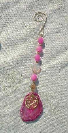 Beaded Pentagram Gemstone Sun Catcher