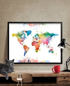 WORLD MAP Art Large World Map Print World Map by FineArtCenter