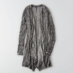 AEO Feather Light Waterfall Cardigan ($40) ❤ liked on Polyvore featuring tops, cardigans, black, black ribbed cardigan, draped waterfall cardigan, drape cardigan, black open front cardigan and feather top