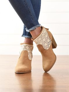 You'll instantly fall in love with these crochet embellished faux suede booties!
