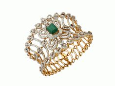 18-k gold cuff set with an emerald in the center surrounded by rose-cut and round brilliant diamonds; Anmol Jewellers.