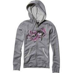 Fox Explosive Womens Furlined Hoodie Sweatshirt Grey