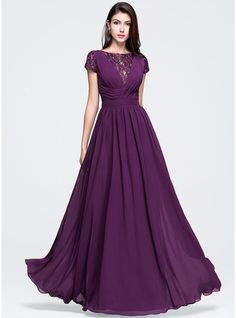 Line / Princess Scoop Neck Floor-Length Chiffon Prom Dress with Ruffle