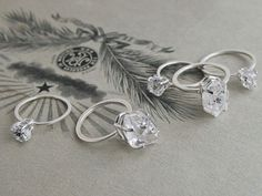 Erica Weiner Herkimer Diamond Solitaire Rings: $100–$110; ericaweiner.com #weddingring #nontraditionalbride #engagementring