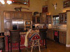 Rustic Kitchen with color on island