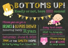 Beer and Diapers Baby Shower Boy Invitation Bottoms Up - Diapers and Beer Baby Shower Invite - Man Shower Invite - Baby Shower - Bottoms Up