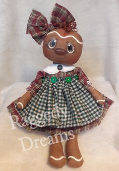 Handmade Primitive Folk Art Gingerbread Girl Doll - Burgandy Sage Green Homespun Dress - Country Kitchen Home Decor - Hand painted Face by RaggedyDreamsToo on Etsy