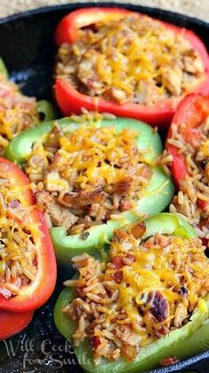 Chicken Fajita Stuffed Peppers by willcookforsmiles #Stuffed_Peppers #Chicken