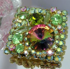 Vintage Signed Costume Jewelry Juliana D Rivoli Watermelon Rhinestone Brooch