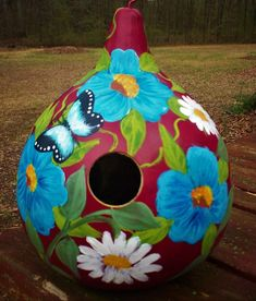 Daisies, Blue Flower Garden, Butterflies Red Painted Gourd Birdhouse Garden Art #Handpainted