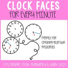 Clock Faces for Every Minute Clip Art. Options with both numbered and blank clocks for 1,442 images!