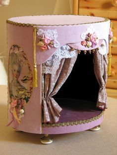 Puppet Theater  fabric with ribbon embellishments