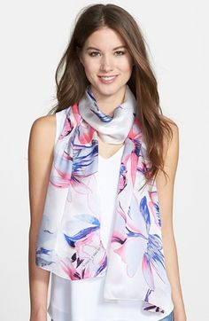 Vince Camuto 'Cascading Daffodils' Silk Scarf available at #Nordstrom