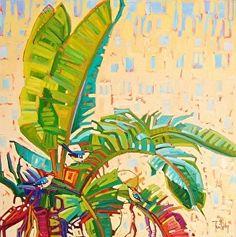 """""""Backyard Bliss,"""" by René Wiley by René Wiley Gallery Oil ~ 36 x 36"""