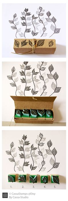 Miniature rubber stamps of leaves