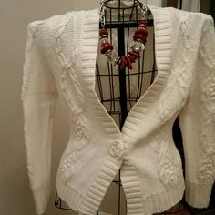 Lovely Off White Cardigan Off White Cardigan with Rose Snap Button in front. Detailing on sleeves as well as back. Dress this up or wear with you favorite jeans. Dress Barn Sweaters Cardigans