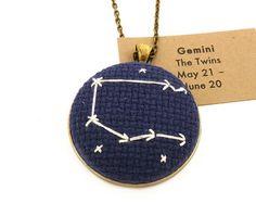 Zodiac Necklace Gemini Zodiac Constellation Cross Stitch Necklace on Brass Convertible Chain