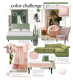 """Colour challenge: Green and blush"" by hazznboobear ❤ liked on Polyvore featuring interior, interiors, interior design, home, home decor, interior decorating, Balmain, Urban Outfitters, Elrene Home Fashions and Joybird"