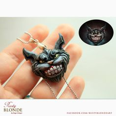 """Cheshire Cat (Alice:Madness Returns) Pendant I sculpted as a commission work...1.1 x 1.3"""""""