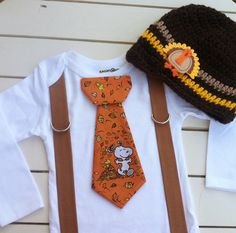 Baby boys SNOOPY THANKSGIVING TIE Bodysuit with by BetterThanBows, $34.95