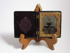 Antique 19th C Holmes Booth Haydens Ambrotype Thermoplastic Velvet Case Photo