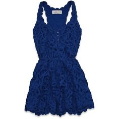 Abercrombie & Fitch Zoe Dress (1,265 EGP) ❤ liked on Polyvore featuring dresses, vestidos, tops, cinched waist dress, lacy dress, cinch dress, blue dress and blue lace dress