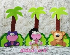 centro de mesa e porta guardanapo safari Jungle Party, Safari Party, Safari Theme, 1st Birthday Themes, Needle Felting, Tropical, Clip Art, Diy Crafts, Christmas Ornaments