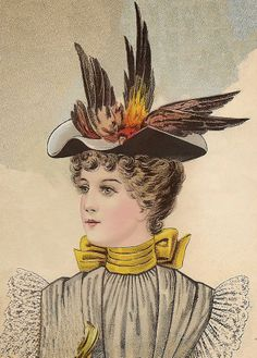and Century: Interesting Millinery Facts Victorian Hats, Edwardian Era, Victorian Fashion, Vintage Fashion, Vintage Ladies, Vintage Hats, Moda Vintage, 1890s Fashion, Hats For Women