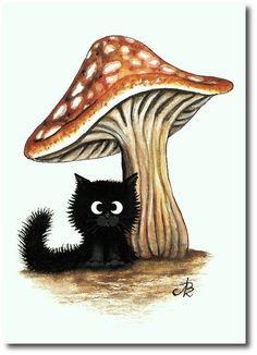 5x7 Black Cat Under Mushroom Artwork - Print by AmyLyn Bihrle... her work is SO adorable!