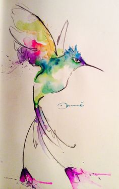 Watercolor Hummingbird, colorfull and cure desing.