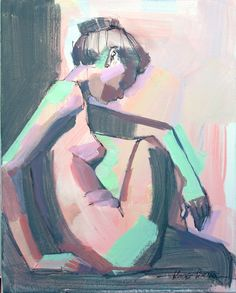 Print of Female Figure in pastel and charcoal, figure drawing Female nude, Bathroom Art colorful art, woman, gifts for her, coral peach mint