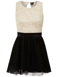 Cream/Black sleeveless dress $44.00