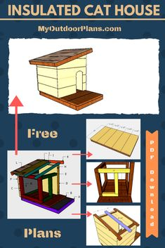 This step by step diy project is about simple cat house with insulation plans. This is my latest take on a super simple cat house with insulation. I want to build this for my pet so I thought it would be a good idea to share this with you guys. Double Dog House, Small Dog House, Build A Dog House, Feral Cat House, Cat House Diy, Feral Cats, Dog Houses, Play Houses, Insulated Cat House