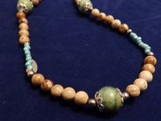 Turquoise and Jasper Necklace by TheJewelryCabinet on Etsy, $24.75