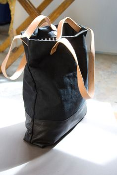 The Doer Tote in Leather and Waxed Canvas / Black on por AwlSnap
