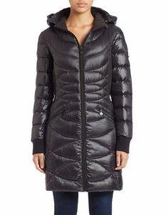 Bernardo Womens Down Coat w//Faux Fur,Dark Olive Size L