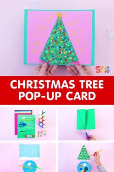 Christmas is almost here, yay! A homemade Christmas card will surely warm hearts this holiday season. Loaded with love, creativity, and personality, each card you make will be a unique expression of Christmas joy. Our Christmas tree pop up card is super fun and easy to make. So get those craft supplies ready. It's time to get crafty, Christmas style! Pop Up Christmas Cards, Christmas Pops, Pop Up Cards, Xmas Cards, Diy Cards, Simple Christmas, Christmas Ideas, Easy Crafts For Kids, Craft Activities For Kids