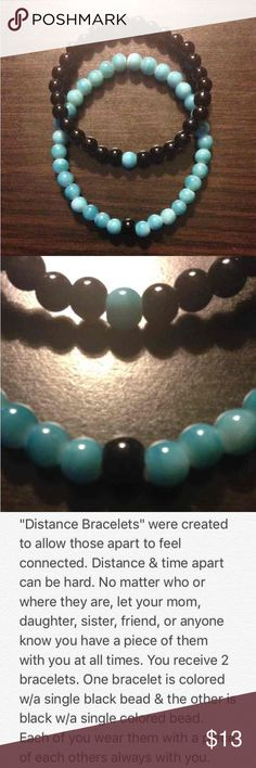 "Distance Bracelets Made with aqua & black colored 6mm glass beads. Measures 3.5"" when folded in half; comfortable fit, flexible but not loose.   Wear one & share one. Keep a piece of each other with you, no matter the miles apart.   Balance Bracelets  Distance Bracelets Friendship Bracelets  Yin Yang Bracelets Handmade Jewelry Bracelets"
